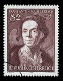 奥地利打印的邮票,展示弗朗兹安东Maulbertsch 免版税库存照片