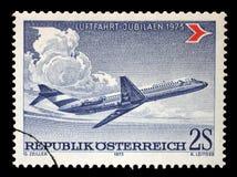 奥地利打印的邮票,展示道格拉斯DC-9 免版税库存图片