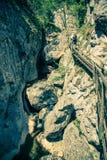 奥地利旅游胜地施蒂里亚瀑布Bärenschà ¼ tzklamm人在瀑布上的一座桥梁走 库存图片