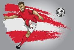 奥地利有旗子的足球运动员作为背景 免版税库存图片