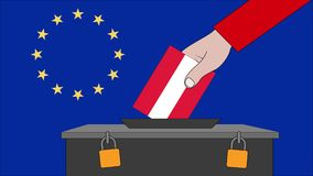 奥地利欧洲选举的投票箱 库存例证