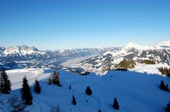 奥地利滑雪倾斜 免版税库存图片