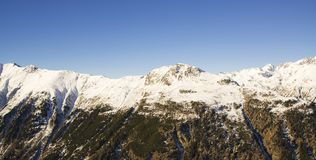 奥地利滑雪胜地Ischgl的全景 免版税库存图片