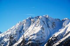 奥地利滑雪胜地Ischgl的全景 图库摄影