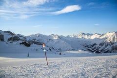 奥地利滑雪胜地Ischgl的全景 库存照片