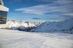 奥地利滑雪胜地Ischgl的全景 免版税库存照片
