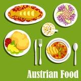 奥地利烹调盘和饮料 免版税库存照片