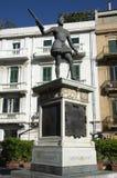 奥地利的唐璜雕象在Catalani广场的,西西里岛,意大利墨西拿 库存照片
