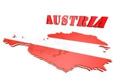 奥地利的地图例证有旗子的 免版税库存图片