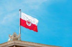 奥地利的旗子议会的屋顶的 在Vienn的旗子 免版税库存图片