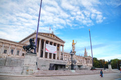 奥地利议会大厦(Hohes Haus)在维也纳及早的 库存照片