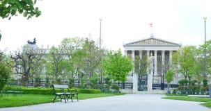 奥地利议会的历史建筑 主要门户的建筑片段 奥地利维也纳 库存照片
