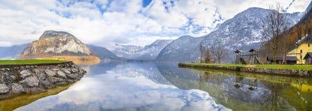 奥地利阿尔卑斯和湖全景  免版税图库摄影