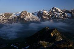 奥地利阿尔卑斯,在日出的Grossglockner 免版税库存照片