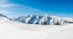 奥地利阿尔卑斯, Mayrhofen滑雪胜地 库存图片