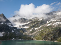 奥地利,在山的假日与在海的雪 库存照片