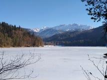 奥地利,结冰的湖 库存照片