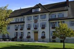 奥地利:医院在Montafon谷的施伦斯 库存照片