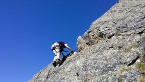 奥地利 山地区` Stubai ` 训练在攀岩 库存图片