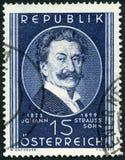 奥地利- 1949年:展示约翰・施特劳斯小 1825-1899,作曲家 免版税库存照片