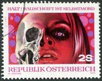 奥地利- 1973年:展示药物是死的,与吸毒的战斗 库存图片