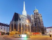 奥地利-维也纳大教堂在晚上 库存图片