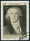 奥地利- 1970年:展示路德维格・范・贝多芬1770-1827,作曲家 库存图片