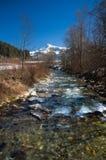 奥地利- Kitzbuheler垫铁和Aschauer疼痛河 免版税库存图片