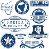 奥奈达县,纽约 套邮票和标志 免版税库存照片