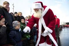 奥尔堡到达克劳斯・圣诞老人 免版税图库摄影