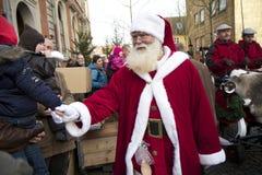 奥尔堡到达克劳斯・圣诞老人 免版税库存照片