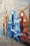 奥尔戈索洛意大利Murales 10月4日2015年在奥尔戈索洛意大利,因为大约1969壁画反射撒丁岛的不同方面 库存图片