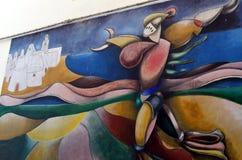 奥尔戈索洛意大利Murales 10月4日2015年在奥尔戈索洛意大利,因为大约1969壁画反射撒丁岛的不同方面 免版税库存照片