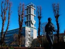 奥尔胡斯丹麦市政厅和钟楼  图库摄影