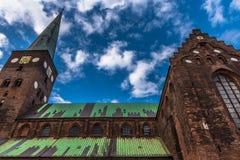 奥尔胡斯大教堂全部的丹麦 库存照片