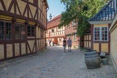 奥尔胡斯,丹麦老镇  库存照片