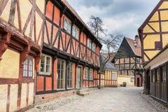 奥尔胡斯,丹麦- 2015年4月12日:中世纪房子在奥尔胡斯 免版税库存图片