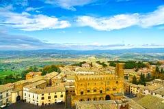 奥尔维耶托中世纪镇鸟瞰图。意大利 免版税库存图片