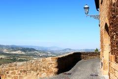 从奥尔维耶托墙壁的看法,翁布里亚,意大利 免版税库存图片