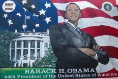 奥巴马,香港大会堂,坎顿,加州总统大室外绘画  免版税库存照片