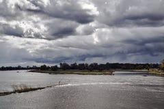 奥得河洪泛区在一个雨天 图库摄影