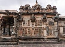 奥恩达尔寺庙的边在Chennakeshava寺庙复合体的在贝鲁尔K 免版税库存照片