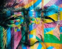 奥斯卡Niemayer街道画墙壁在São保罗巴西 免版税库存照片
