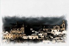 奥斯图尼白色村庄的全景在亚得里亚海的Salento 库存图片