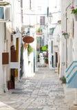 奥斯图尼镇,普利亚,Ital狭窄的街道有白色大厦的 免版税库存照片