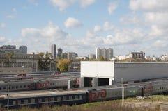 奥斯坦基诺火车站和集中处 免版税库存照片