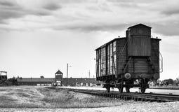 奥斯威辛,波兰- 2017年7月11日 在路轨的历史的火车在骗局 库存照片