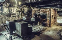 奥斯威辛/波兰- 02 15 2018年:在黑暗的地下室的火葬场火炉在奥斯威辛博物馆 图库摄影