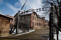 奥斯威辛/奥斯威辛/波兰- 02 15 2018年:对奥斯威辛博物馆集中营的词条门 库存照片