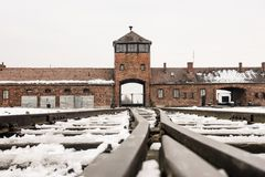 奥斯威辛/波兰- 02 15 2018年:对集中营的路轨入口在奥斯威辛比克瑙 火车到来点 免版税库存图片